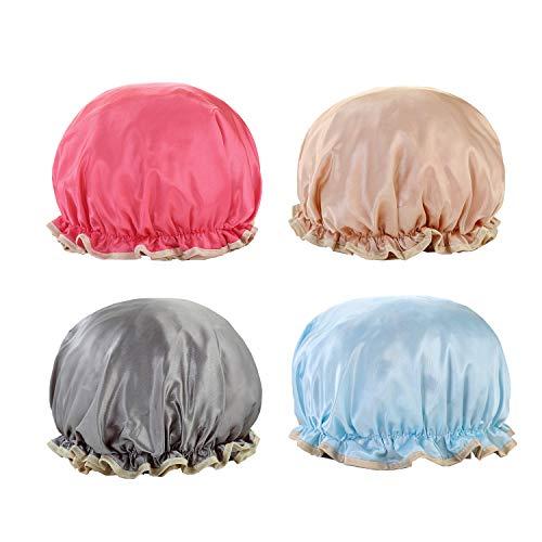 NEPAK 4-Piece Doppelschichte Duschhauben Elastisch Wiederverwendbar Wasserdicht Haarhaube Satin-Badekurort-Haar-Abdeckung für Badezimmer, Badekurort, Hauptgebrauch