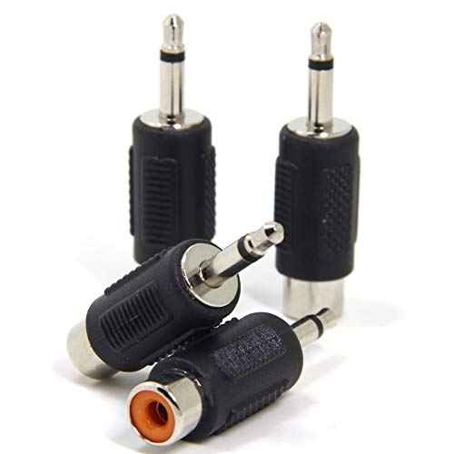 Ancable 4-Pack 3.5mm 1/8 TS Mono Male to RCA Female Adapter Connector Coupler
