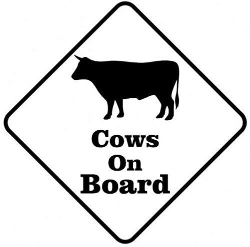 UYEDSR Car Stickers 11.4Cmx11.4Cm Decal Car Cows On Board Sticker Vinyl Strong-Black