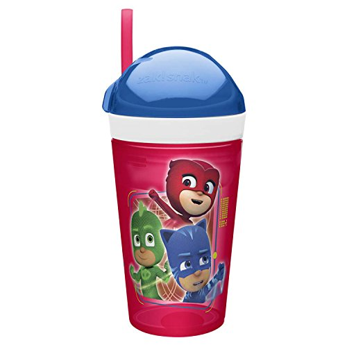 Zak Designs PJ Masks ZakSnak All-In-One Drink Tumbler + Snack Container For Toddlers – Spill-proof 4oz Snack Container Screws Securely Onto 10oz Tumbler With Accessible Straw, PJ Masks