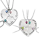 Best Friends Forever Necklace,Engraved Puzzle Friendship Pendant Necklaces Set of 3 and 4, Silver Tone Alloy Rhinestone Necklace