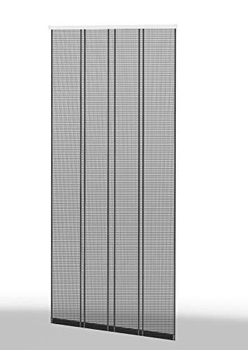 HT Fliegengitter Insekten-Schutz Klemm-Lamellenvorhang 4-TLG. 100 x 220 cm Profil: Anthrazit/Lamelle: Anthrazit