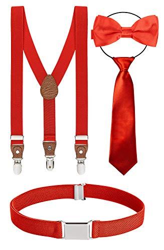 BomGuard Juego de 4 Tirantes para niños con pajarita, corbata, cinturón y tirantes para pantalones, rojo, talla única