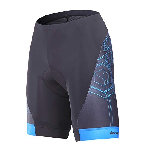 beroy Men's Comfortable Bicycle Cycling Pants, 3D Padded Bike Shorts Blue