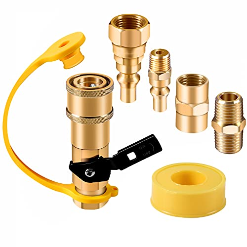 """Propane Quick Connect Fittings Adapter Shutoff Valve 3/8"""" Flare x 1/4"""" NPT Male Pipe Half-Union Fitting to Heater Appliance Quick Connect Plug with 3/8"""" Female Flare Assembly Kit Convert Gas BBQ Grill"""