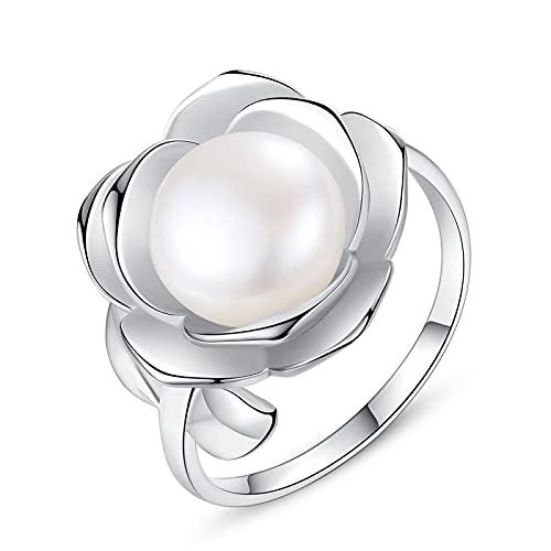 Ajustable 925 Anillo de plata esterlina para damas - Perlas de agua dulce de gran tamaño forma de flor 3D pulido elegante anillo de dedo abierto, joyería regalo de fiesta para las mujeres chica