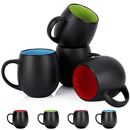 4 Pack Ceramic Coffee Mug Sets, Vivimee 20 Ounce Large Coffee Mugs, Black Coffee Mug, Restaurant...