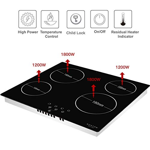 NOXTON Ceramic Hob, Built-in 4 Zone Electric Hobs 60cm Black Glass Panel Cooker with Touch Controls