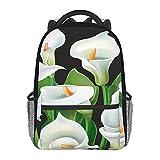 Schulrucksäcke, weiße Calla-Lilien auf schwarzem Hintergrund, Mehrzweck-Tragetasche, leichter Tagesrucksack für Mädchen/Jungen