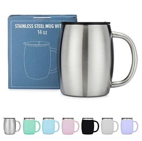 Stainless Steel Coffee Mug with Lid - 14 Oz Double Walled Insulated Coffee Beer Mugs - Silver - Best Value - BPA Free Healthy Choice - Shatterproof and Spill Resistant - By Avito