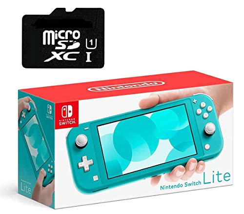 """Newest Nintendo Switch Lite Game Console, Turquoise Blue, 5.5"""" Touchscreen, Built-in Plus Control Pad, W/ 128GB Micro SD Card, Built-in Speakers, 3.5mm Audio Jack"""