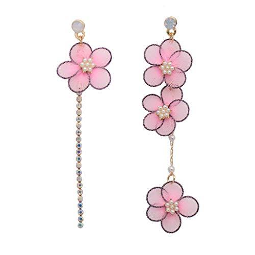 Njuyd - Pendientes de encaje románticos para mujer, asimétricos, diseño de flores, color rosa