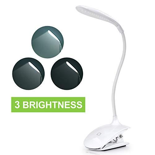 Leselampe für Buch, Sunnest Buchlampe Clip-Licht, LED-Schreibtischlampe, Touch-Steuerung, dimmbar, Nachttisch- und Tischlampe, zum Anklippen,3 Helligkeit, Augenpflege, Touch-Licht zum Lesen (weiß)
