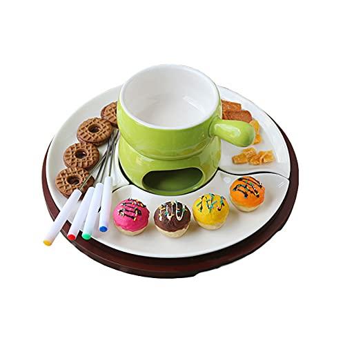 LKJHG Keramik-Schokoladen-Fondue-Set, Käse-Obst-Topf mit drehbarem Tablett und 4 Gabeln, Eiscreme-Herd-Geschirr für Hochzeitsbuffet-Party,Grün