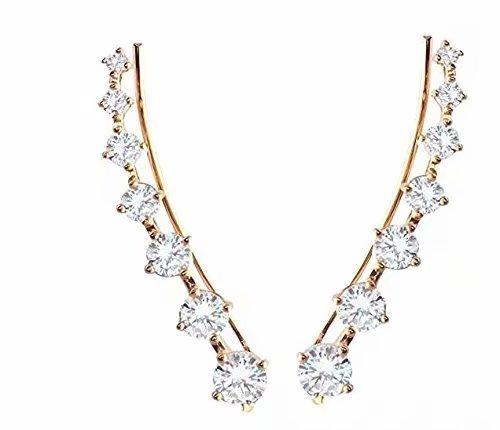 ILOVEDIY Boucles d'oreilles Crochet Brillant Fantaisie Cristal Strass Diamant Accessoires Bijoux pour Femmes 1 paire (Argent)