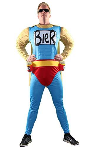Foxxeo Das Biermann Helden Kostüm für echte Männer - Größe S-XXL - für Karneval Fasching Junggesellenabschied JGA Größe XL