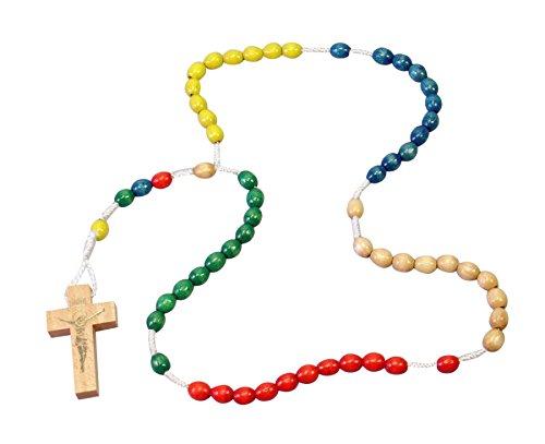 Rosario de perlas de vidrio de coloures - & Cruz de madera, Bunte Perle & Holzkreuz