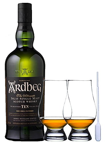 Ardbeg TEN 10 Jahre Islay Single Malt Whisky 0,7 Liter + 2 Glencairn Gläser und Einwegpipette