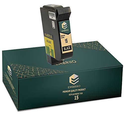 EMBRIIO 15 Negro Cartucho de Tinta Reemplazo para HP Deskjet 3810 3820 815c 916c 920c 940c 948c Officejet 5105 5110 V30 V40 V45 PSC 2120 700 720 750 760 900 950 Copier 310 Fax 1230