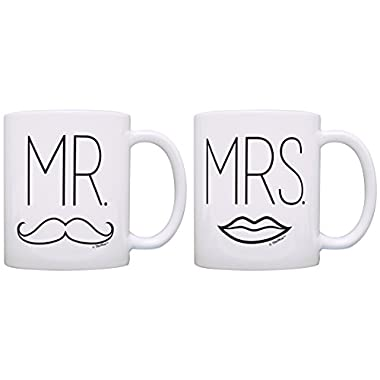 Bridal Shower Gifts Mr & Mrs Elegant Wedding Gift Ideas 2 Pack Gift Coffee Mugs Tea Cups White