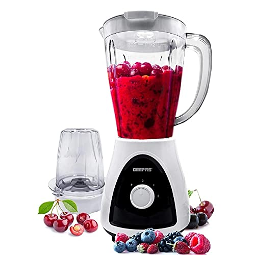 Geepas 400W 2 in 1 Food Jug Blender with 1.5L BPA Free Jar   4 Sharp Stainless Steel Blades with 2 Speed   Ice Crusher, Mill, Coffee/Spice Grinder & Smoothie Maker - 2 Year Warranty