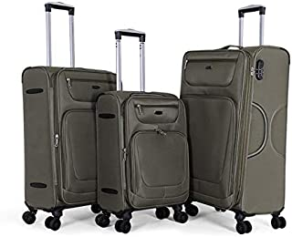 Giordano Luggage Trolley Bags Set, 3 Pcs With 4 Wheel, Green - 18010, Unisex