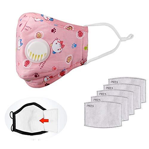 Gesichtsschutz für Jungen und Mädchen, wiederverwendbar, waschbar, Baumwolle, mit 10 Aktivkohle-Einsätzen, Anti-Beschlag, Anti-Saliva-Gesichtsschutz mit Atemventil für Kinder