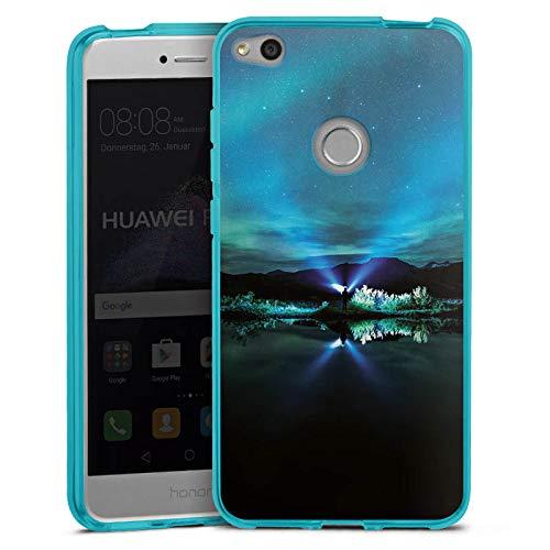 DeinDesign Silikon Hülle transparent hellblau Case Schutzhülle für Huawei P8 Lite 2017 Polarlicht Nacht Himmel