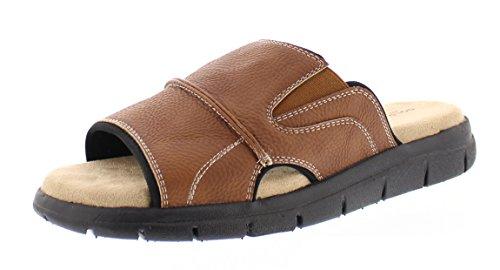 Gold Toe Men's Russell Open Toe Fisherman Slide Sandal Casual Memory Foam Comfort Slip On Flats Shoes Brown 11.5D US