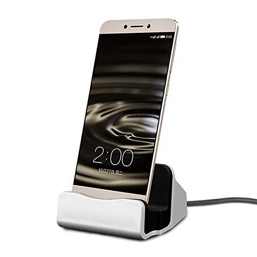 Oplaadstation voor Huawei P20 Lite smartphone type C houder oplader kantoor (zilver)