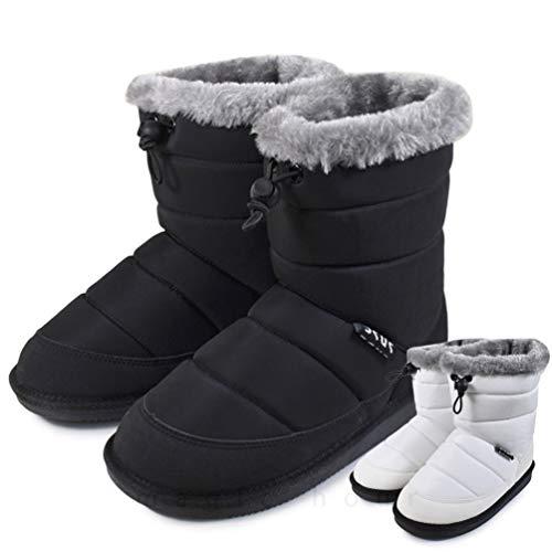 スノーブーツ ウィンターブーツ キッズ ジュニア 子供 こども はっ水 防寒 お洒落 スノーシューズ 子ども ボア 起毛 撥水 雪靴 雨靴 アウトドア 黒 白 BLACK M(21~22cm)