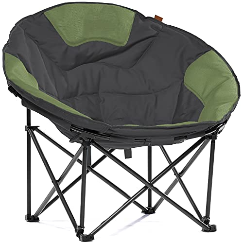 Skandika Moonchair XXL | Großer, bequemer Campingstuhl, Camping Sessel rund, Mondsessel, gepolstert, klappbar, Tragegriff und Tragetasche, Anti-Rutsch-Füße, sehr robust | max. 150 kg (grau/grün)