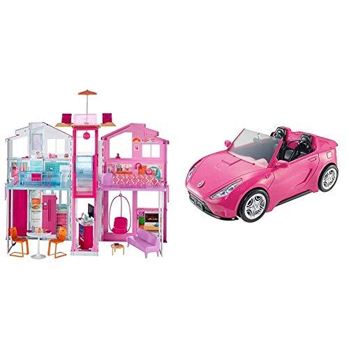 Barbie - Supercasa - casa muñecas, Regalo para niñas y niños 3-9 años (Mattel DLY32) + Coche descapotable de Barbie - barbie Coche - (Mattel DVX59)