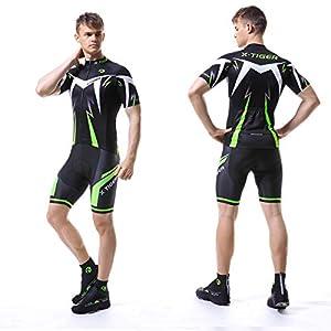 X-TIGER Hombres de Bicicleta Manga Corta Shorts Top Maillots con 5D Acolchado Gel MTB Ciclismo Pantalones Cortos (Verde,L)
