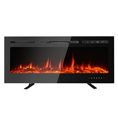 "MAXXPRIME 50"" Electric Fireplace, Free Standing, Recessed and Wall Mounted Fireplace Insert Heater with Touch Screen Control Panel, Faux Fire Log & Crystal Options, 9 Flamer Color, 750/1500W"