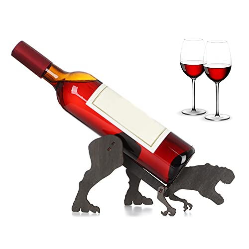 Lrxinki Botellero creativo de madera Tyrannosaurus Wine Rack Ornaments, modelado personalizado, botellero de vino, bar, decoración artesanal.