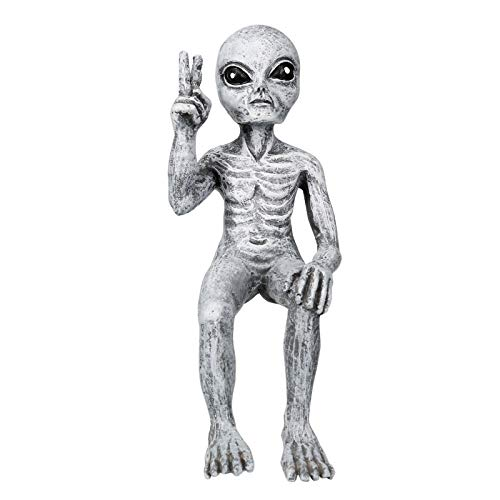 ZS ZHISHANG Garden Sculptures & Statue Outer Space Alien Dude and Babe Shelf Sitters Statue Figurine Home Indoor Outdoor Decoration