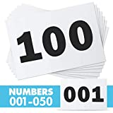 """Race Numbers Running Bibs for 5k Marathon Sports Games Competition - 5.5"""" X 8.25"""" (001-050)"""