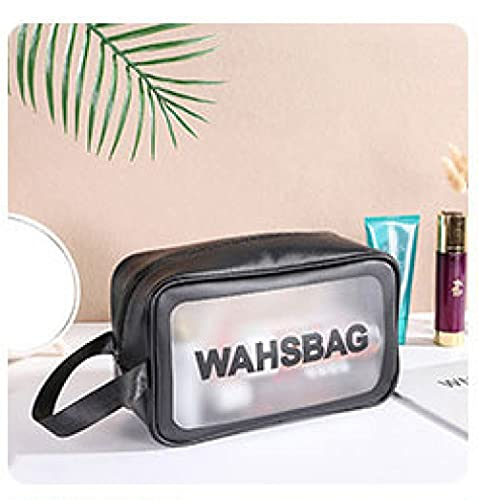LSZA Bolso de Cosméticos,PVC Transparent Makeup Bag Women Wash Bag Travel Organizer Large Capacity Cosmetic Storage Bags Hand Clear Bags Neceser,Black s Size