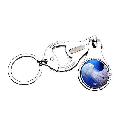 Hqiyaols Keychain Italien Aquarium von Genua Nagelknipser Flaschenöffner Nagelfeile Keychain Kreative Kristall Edelstahl Multifunktions Souvenirs Geschenke