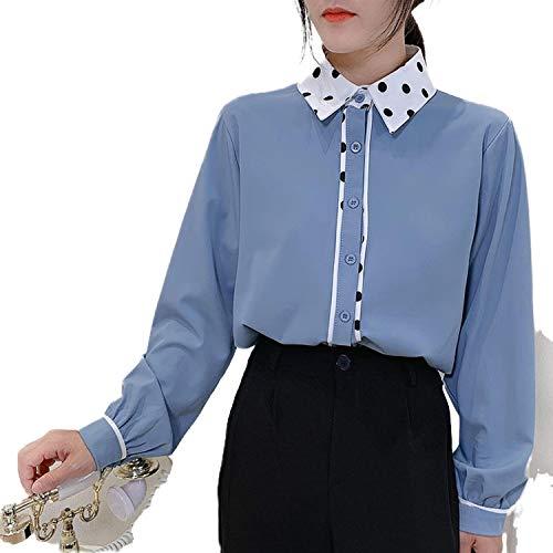 Feme Elegante Vintage Mangas Largas Oficina Señora Blusa De Las Mujeres Otoño Tops Streetwear Chaquetas Casual Polka Dot Camisa Overshirt - Azul - L/ 53/60 cm