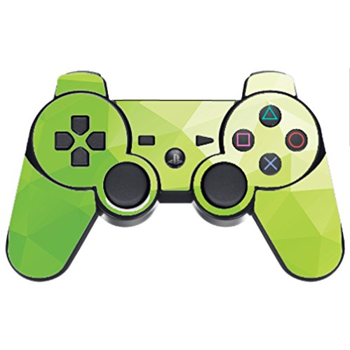 Lime Green Polygon Design Vinyl Decal Sticker Skin by egeek amz for PS3 Dual Shock wireless controller