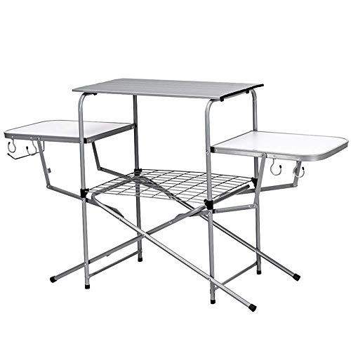 Klappbarer tragbarer Picknick-Campingtisch mit 3 geräumigen Tischplatten für Camping, BBQ, Party