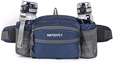 WATERFLY Fanny Pack with Water Bottle Holder Hiking Waist Packs for Walking Running Lumbar Pack fit for iPhone iPod Samsung Phones (Sapphire Blue)