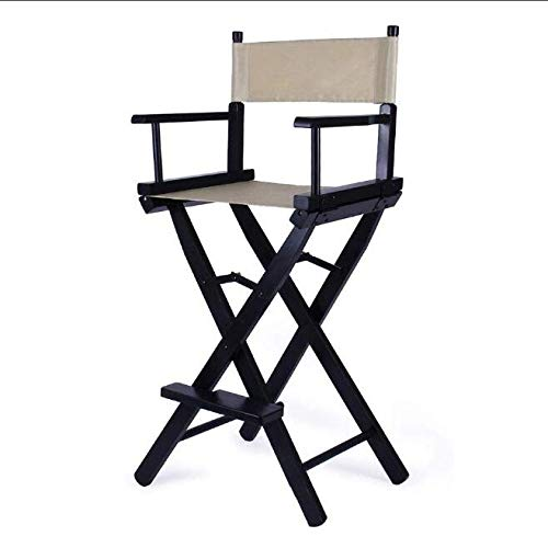 ZCL Folding Chairs for Outide Lightweight Folding Stool Portable Wooden Canvas Chair, 30-inch Simple Bar Chair High Chair Folding Stool Dining Chair Armchair Folding Chair Covers (Color : Gray)