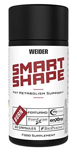 WEIDER Smart Shape Stoffwechsel Aktiv, Nahrungsergänzung für die Diät, hochdosierter Fettstoffwechsel Komplex mit Pflanzenstoffen Vitaminen und Mineralstoffen, 60 Kapseln