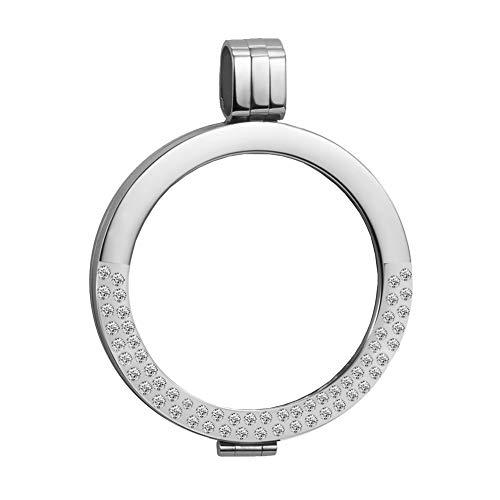 Meilanty Coin 33mm Münzfassungen Anhänger mit Zirkonia aus Edelstahl für Damen Silber