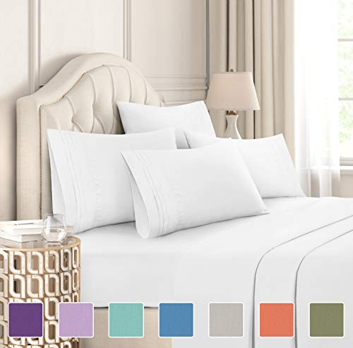 Queen Size Sheet Set - 6 Piece Set - Hotel Luxury Bed Sheets - Extra Soft - Deep Pockets - Easy Fit - Breathable & Cooling Sheets - Wrinkle Free - Comfy - White Bed Sheets - Queens Sheets - 6 PC
