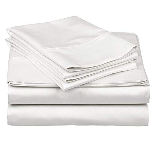 Rajlinen Ultra Soft 100% Percale Cotton 4 Piece Bed-Sheet-Set 400 Thread-Count 15 Inch Deep-Pocket - Extremely Lightweight Smooth Stronger Durable Quality Bedding (White Solid, Short Queen)