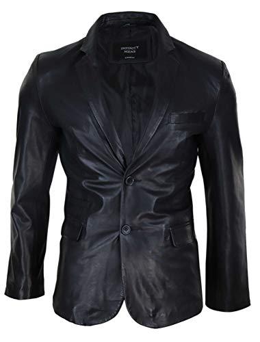 Infinity Leather Herrenjacke 100% Echtleder Slim Fit Schwarz Vintage Retro Design - schwarz L